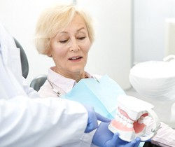 Dentist discussing All-On-4 implants in Coppell with patient