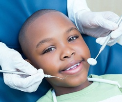 little boy seeing children's dentist in Coppell